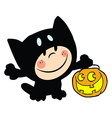 Child Dressed In Cat Suit And Pumpkin In Hand vector image