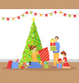 christmas celebration at home family with gifts vector image vector image