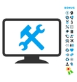 Desktop Settings Flat Icon with Bonus vector image vector image