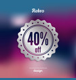 discount silver badge forty percent offer vector image vector image