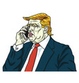 donald trump on mobile phone cartoon vector image vector image
