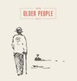 elderly man cane walking pond park sketch vector image