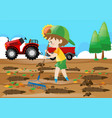 farm scene boy raking leaves in the field vector image vector image