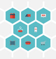 flat icons qr shopping trolley and other vector image vector image