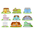 flat set of colorful houses with green vector image