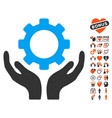 gear maintenance hands icon with dating bonus vector image vector image