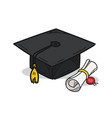 graduation cap on a white background vector image vector image