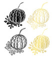 hand drawn golden fruits set vector image