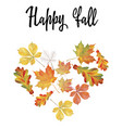 heart of different autumn leaves vector image vector image