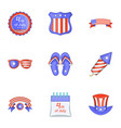 independence day badge icons set cartoon style vector image vector image