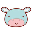 line color happy hippopotamus head wild animal vector image vector image