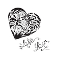 love you lettering with hand drawn heart in vector image