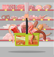 meat products in supermarket basket vector image vector image