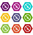 no spider sign icon set color hexahedron vector image vector image