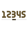 number celtic golden style in a set 12345 vector image