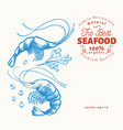 prawns hand drawn seafood engraved style vector image