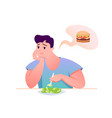 sad fat guy eat green salad vector image vector image