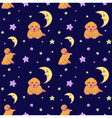 seamless pattern with dogs stars and demilu vector image