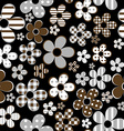 Seamless with patterned flowers over black vector image vector image