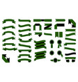 set of beautiful colorful green ribbons vector image