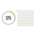 set of circle percentage diagrams from 0 to 100 vector image vector image