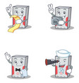 set of computer character with menu photo waiter vector image vector image