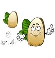 Smiling open pistachio nut cartoon character vector image