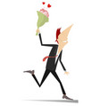 smiling running man with a bunch of flowers vector image vector image