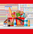 supermarket store interior with goods vector image vector image