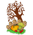 thanksgiving motive with tree vector image