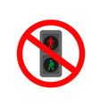 traffic light ban icon vector image vector image