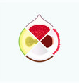 tropical fruit organic food and juice round logo vector image vector image