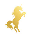 unicorn golden silhouette vector image