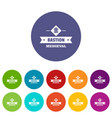victorian bastion icons set color vector image vector image