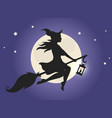 witch flying on a broom vector image vector image