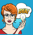 woman holds light bulb with speech bubble drawn vector image