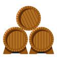 wooden barrels with wine winemaking industry vector image