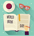 world book day open book with a hand writing vector image vector image