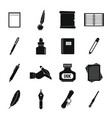 writing icons set items simple style vector image vector image