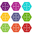 aim icon set color hexahedron vector image vector image