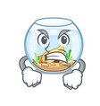 angry fishbowl jumping outside the on character vector image vector image
