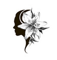 beautiful girl silhouette with stylish hairstyle vector image vector image