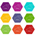 car and key icons set 9 vector image vector image