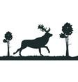 cartoon silhouette deer in forest vector image vector image