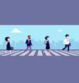 children keep distance students go to school in vector image