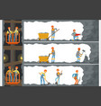 coal industry mine with many levels workers vector image vector image