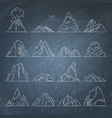 collection of mountain icons on chalkboard vector image