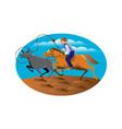 Cowboy Riding Horse Lasso Bull Cow vector image vector image