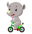 cute happy rhino cycling vector image vector image
