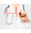 Doctor hand drawing cardiogram vector image vector image